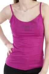 Top en coton à fines bretelles et imprimé rosace lilas Ysée 293848