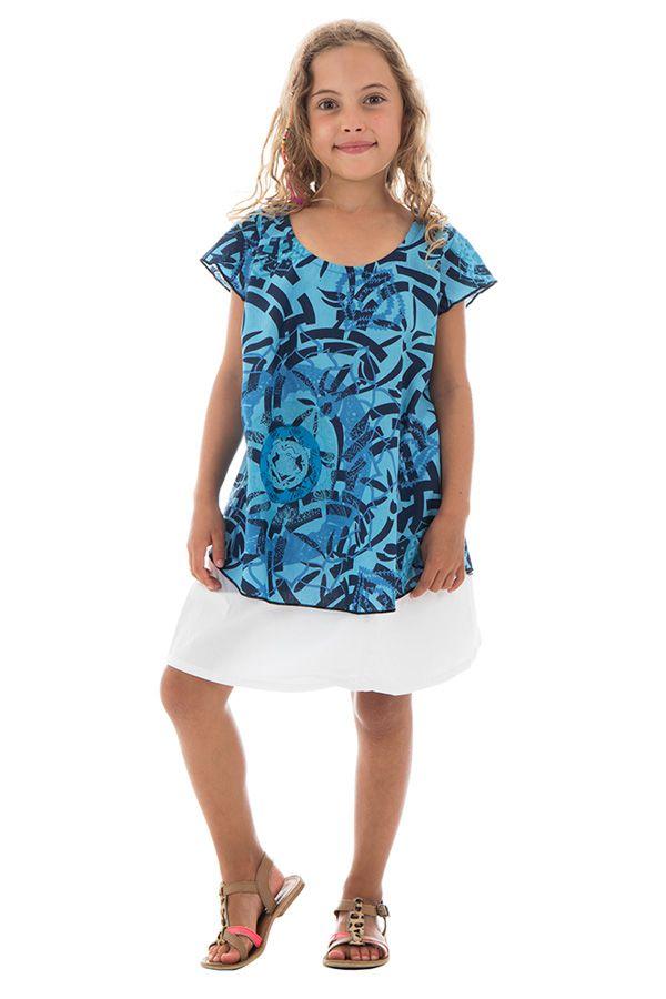 Top été enfant manches courtes Imprimé et Original Bleu Sampada 291659