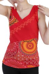 Top ethnique avec imprimé patchwork et col v rouge Larissa 293951