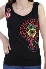 Top ethnique coloré à larges bretelles noir Shirley 293987