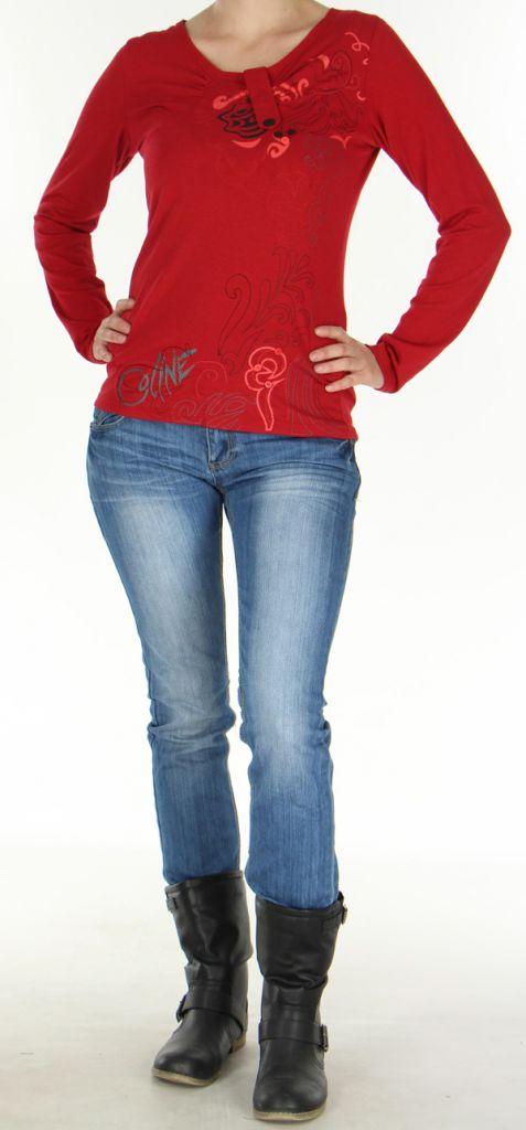 Top Femme à manches longues Fashion et Original Pachka Rouge 277547
