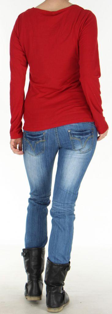 Top Femme à manches longues Fashion et Original Pachka Rouge 277548