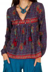Top femme à manches longues original et gipsy Kamsar violet 314677