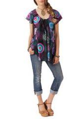 Top femme ample original noir et violet Lison 267714