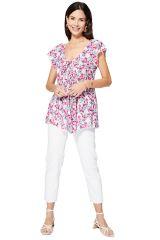 Top femme d\'été blanc à fleurs agréable en coton bohème Lejla