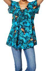 Top femme d\'été bleu et élégant en coton ample facile à mettre Linea