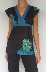 Top femme ethnique coloré avec imprimés original noir et bleu Cookay 302431