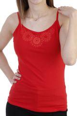 Top fluide en coton imprimé rosace à fines bretelles rouge Ysée 293870