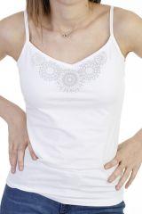 Top fluide imprimé rosace à fines bretelles blanc Ysée 293866
