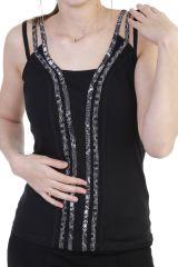 Top idéal été avec bandes verticales à motifs noir Maddie 293842