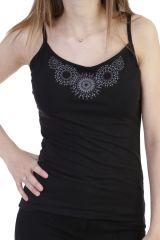 Top léger en coton imprimé rosace à fines bretelles noir Ysée 293876