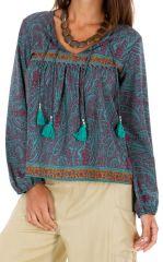 Top manches longues femme ethnique et cool Kamsar turquoise 314683