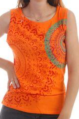 Top Orange à larges bretelles avec imprimés ultra fantaisies Anissa 298055