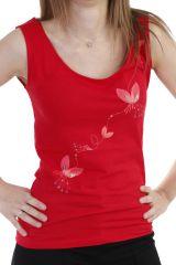 Top original à larges bretelles et col rond imprimé rouge Fanny 293609