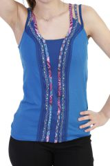 Top original avec bandes verticales à motifs bleu Maddie 293827