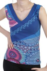 Top original avec imprimé patchwork et col v bleu Larissa 293939