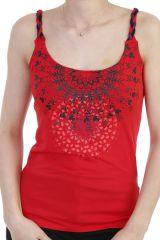 Top original et coloré à fines bretelles tressées et imprimés mandalas rouge Joyce 293790