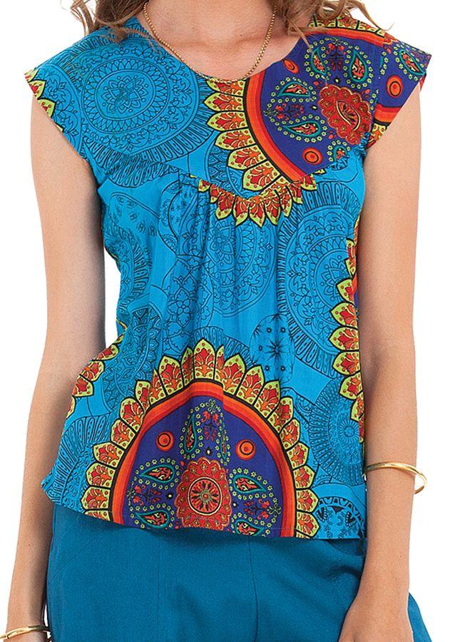 Top Original et Léger pour Femme Carmino Bleu à Mandalas 281710