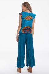 Top Original et Léger pour Femme Carmino Bleu à Mandalas 281712