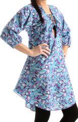 Top pour Femme à manches 3/4 et Décolleté Lacé Bleu Imprimé Ethnique Maya 285744
