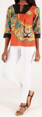 Top pour Femme à manches 3/4 Original et Coloré Kasok Orange 276710