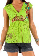 Top pour Femme à manches courtes Anis Imprimé et Coloré Heïdi 285778