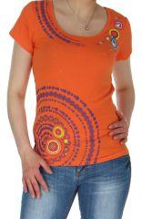 Top pour femme à manches courtes Coloré et Ethnique Romuald Orange 284918