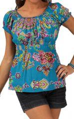 Top pour Femme à manches courtes Elastiqué Bleu Ethnique et Coloré Maryssa 285717