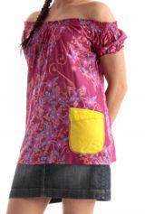 Top pour Femme à manches courtes épaules dénudées Imprimé Fleuri et Coloré Rose Adénora 285760