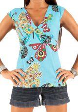 Top pour Femme à manches courtes et décolleté en V Bleu Coloré et Tendance Agrani 285780
