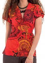 Top pour Femme à manches courtes Ethnique et Chic Nelson Rouge 281754