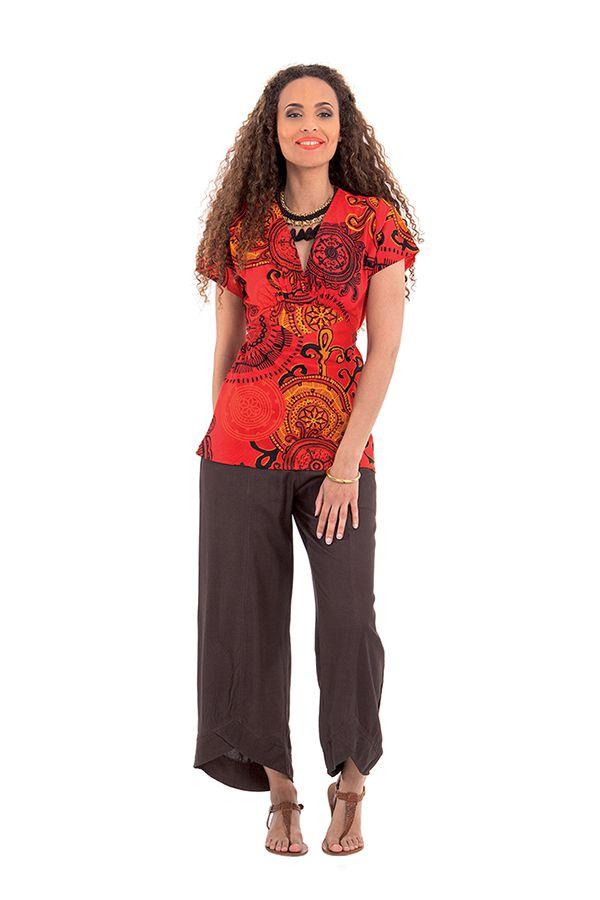 top pour femme a manches courtes ethnique et chic nelson rouge. Black Bedroom Furniture Sets. Home Design Ideas