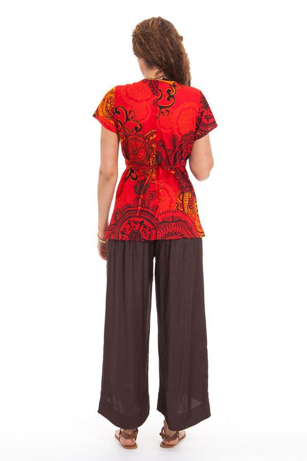 Top pour Femme à manches courtes Ethnique et Chic Nelson Rouge 281756