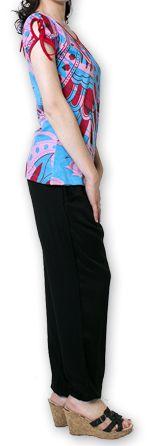 Top pour Femme à manches courtes Original et Coloré Bleu Azale 276815