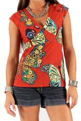 Top pour Femme à manches courtes Rouge avec Col en V Imprimé et Ethnique Wassilia 285782