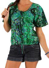 Top pour Femme à manches courtes Vert Imprimé et Original Kalika 285701