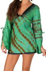 Top pour Femme à manches longues et décolleté en V Vert Ethnique et Coloré Lilavati 285721