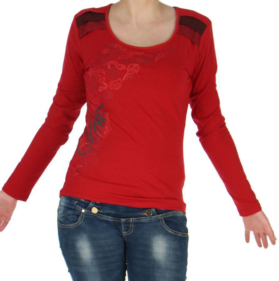 Top pour Femme à manches longues et Impressions Tribales Gaet Rouge 278989