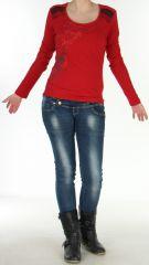 Top pour Femme à manches longues et Impressions Tribales Gaet Rouge 278990
