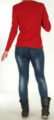 Top pour Femme à manches longues et Impressions Tribales Gaet Rouge 278991