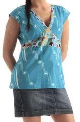 Top pour Femme à manches très courtes et col en V Bleu Original et Imprimé Bassilissa 285766