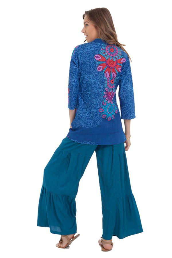 Top pour Femme Ample à encolure Originale Bleu Tabarka 281852