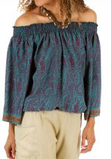 Top pour femme bohème à épaules dénudées Tripoli bleu 314704