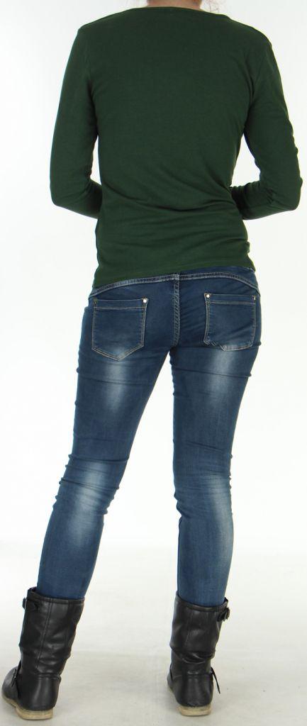 Top pour Femme Kaki à manches longues et Impressions Tribales Gaet 278997
