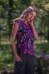 Top pour Femme Original et Léger Carmino Noir et Rose 281706