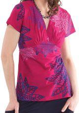 Top pour Femme Rose à manches courtes Ethnique et Chic Nelson 281760