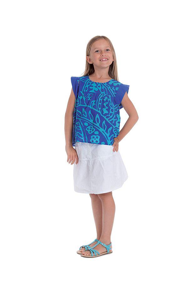 Top pour Fille à manches courtes Original et Coloré Grignotin Bleu 280736