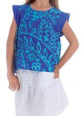 Top pour Fille à manches courtes Originale et Coloré Grignotin Bleu 280735