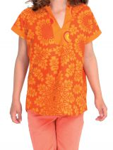 Top pour Fille col Mao Original et Ethnique Orange 280627