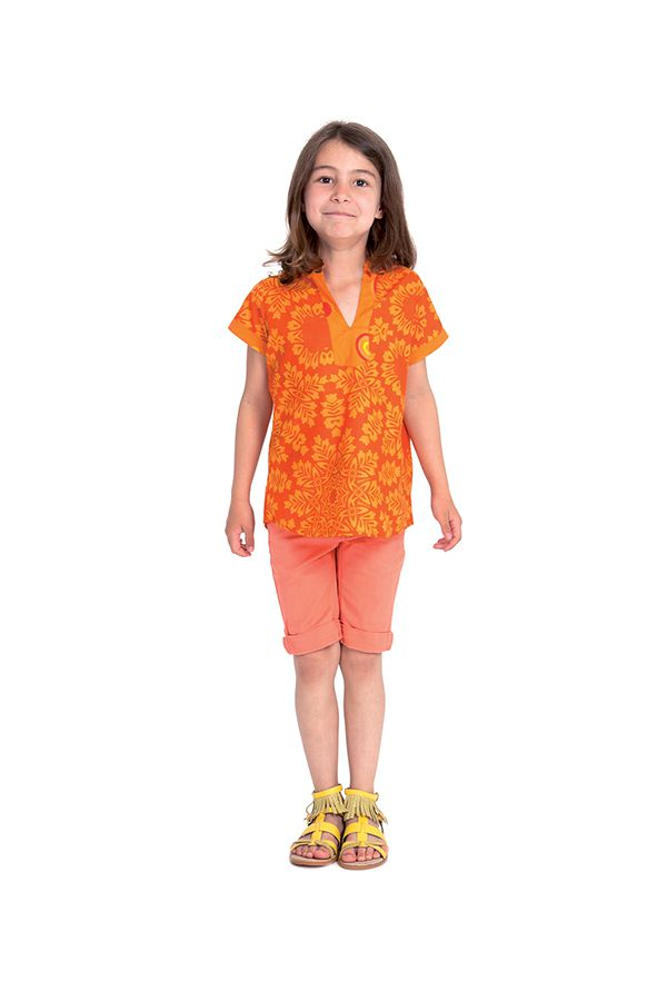 Top pour Fille col Mao Original et Ethnique Orange 280628
